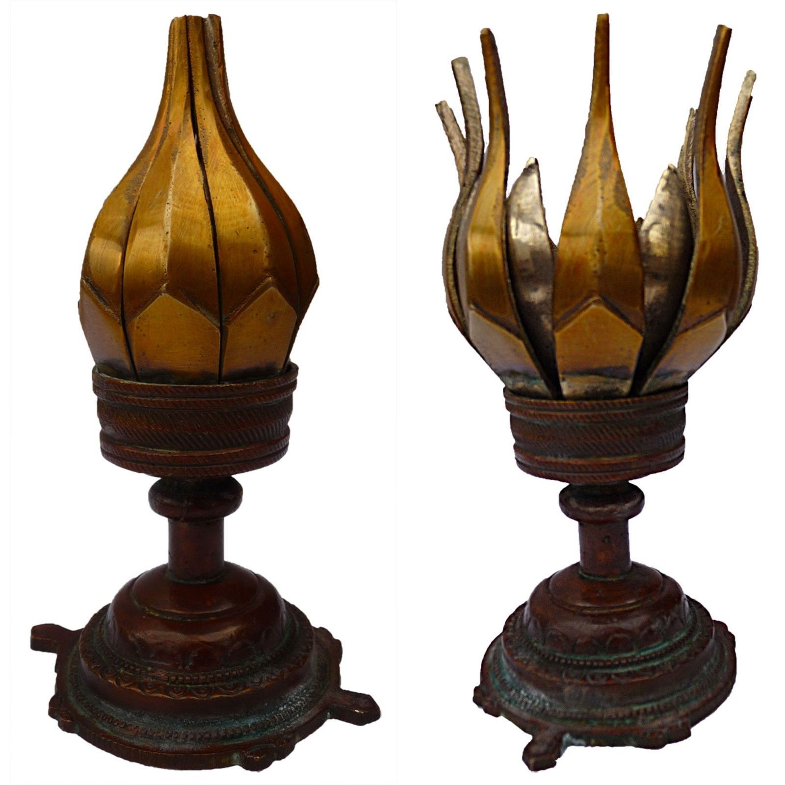 Opening Lotus Incense Burner In Brass