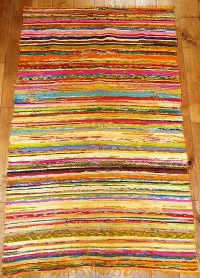 Lightweight rag rug/Chindi rug in Yellows (approx 6'x 4')